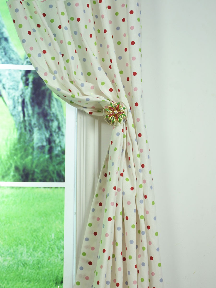 Kids Polka Dot Curtains Alamere kids house polka dot printed cotton fabric sample sisterspd