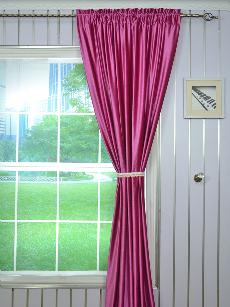 63 Inch 96 Inch Whitney Pink Red And Purple Blackout Grommet Velvet Curtains