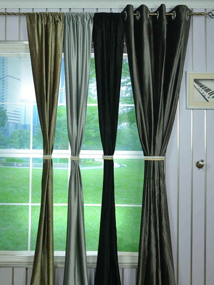 Whitney Gray And Black Custom Made Velvet Curtains For