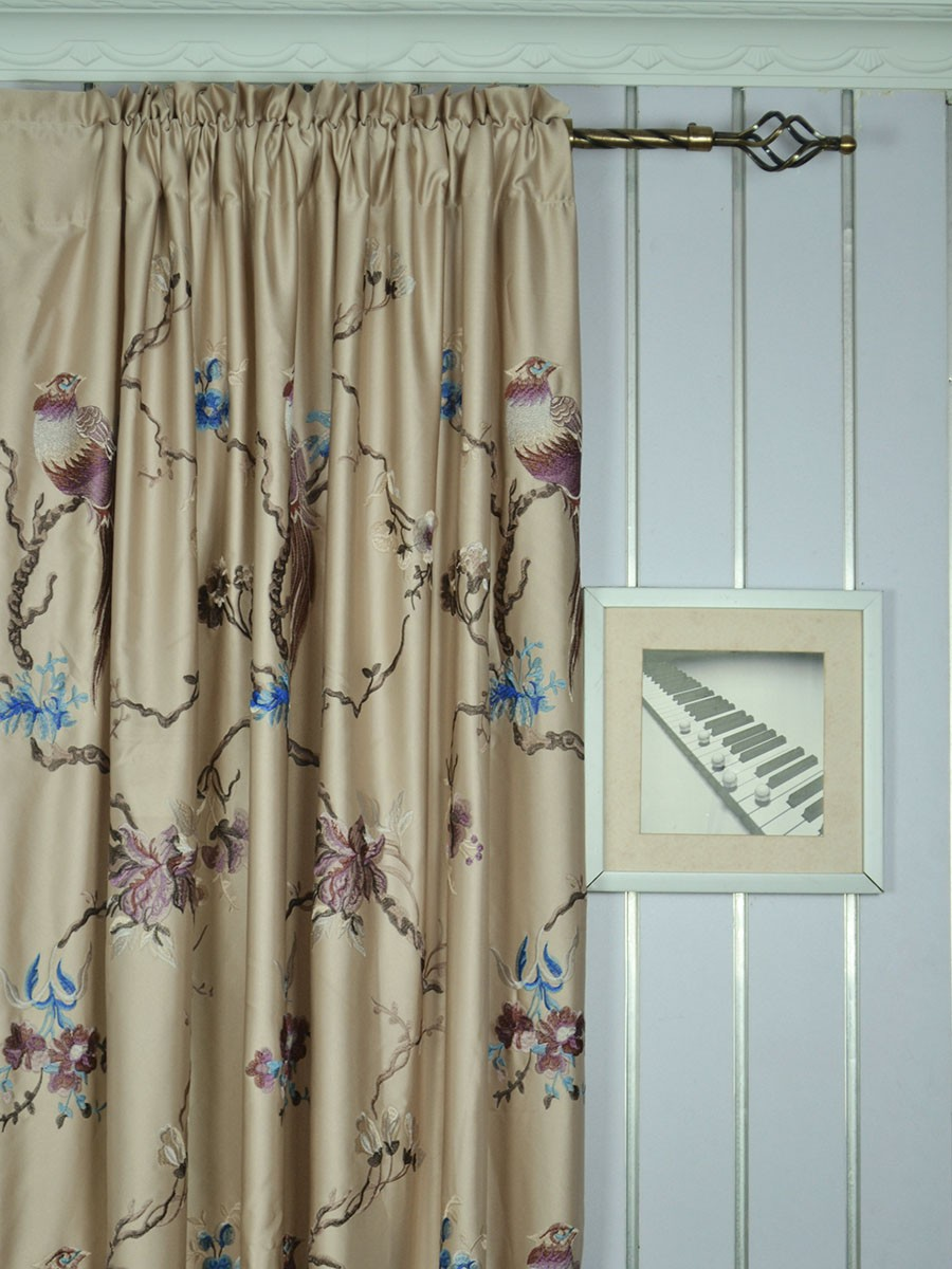 120 Inch Extra Wide Morgan Light Apricot Embroidered