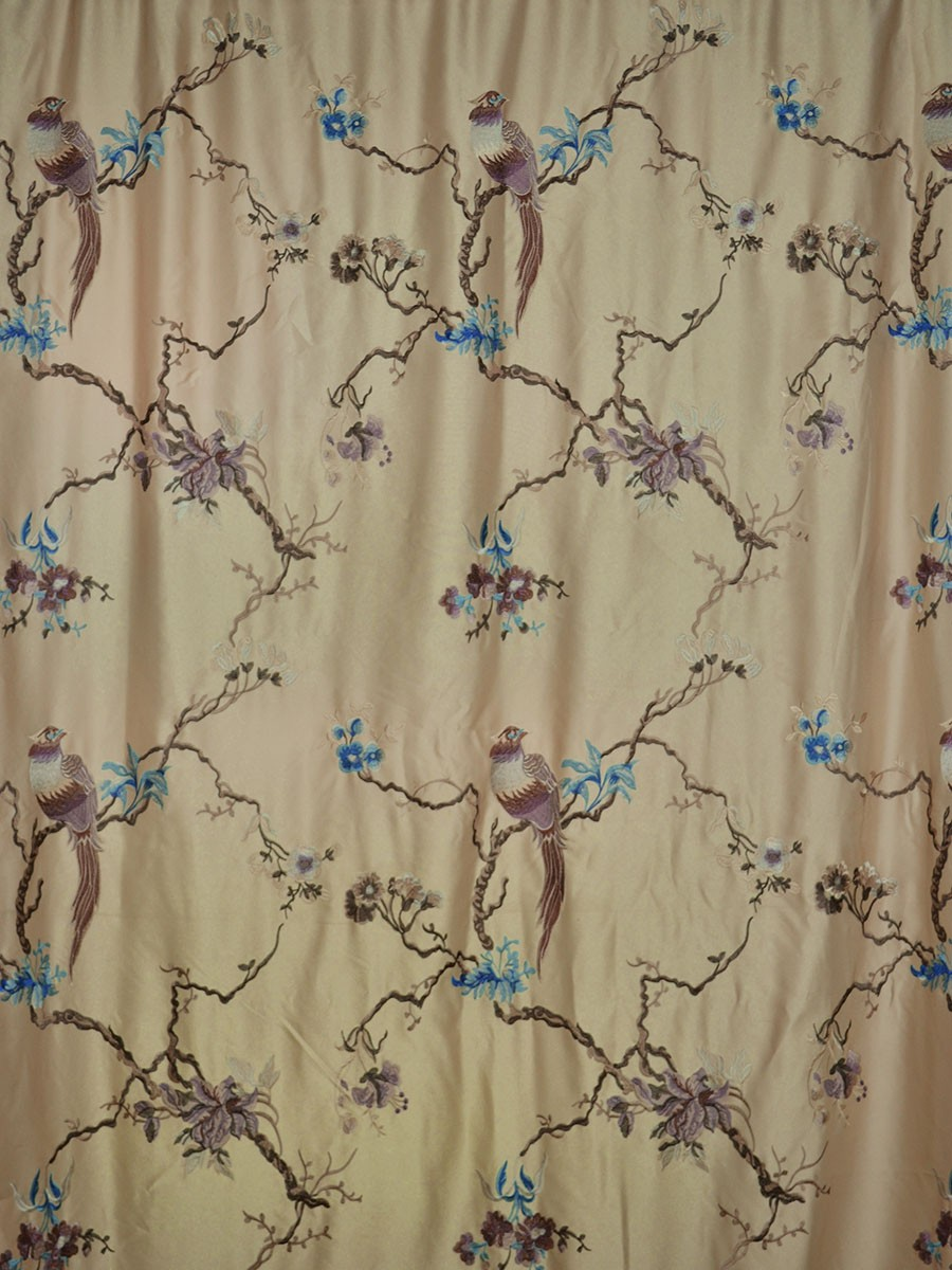 Living Room Morgan Light Apricot Embroidered Branch Faux Silk Custom Curtains