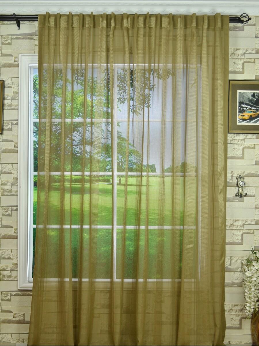 QY7151SKG Laura Striped Back Tab Sheer Curtains
