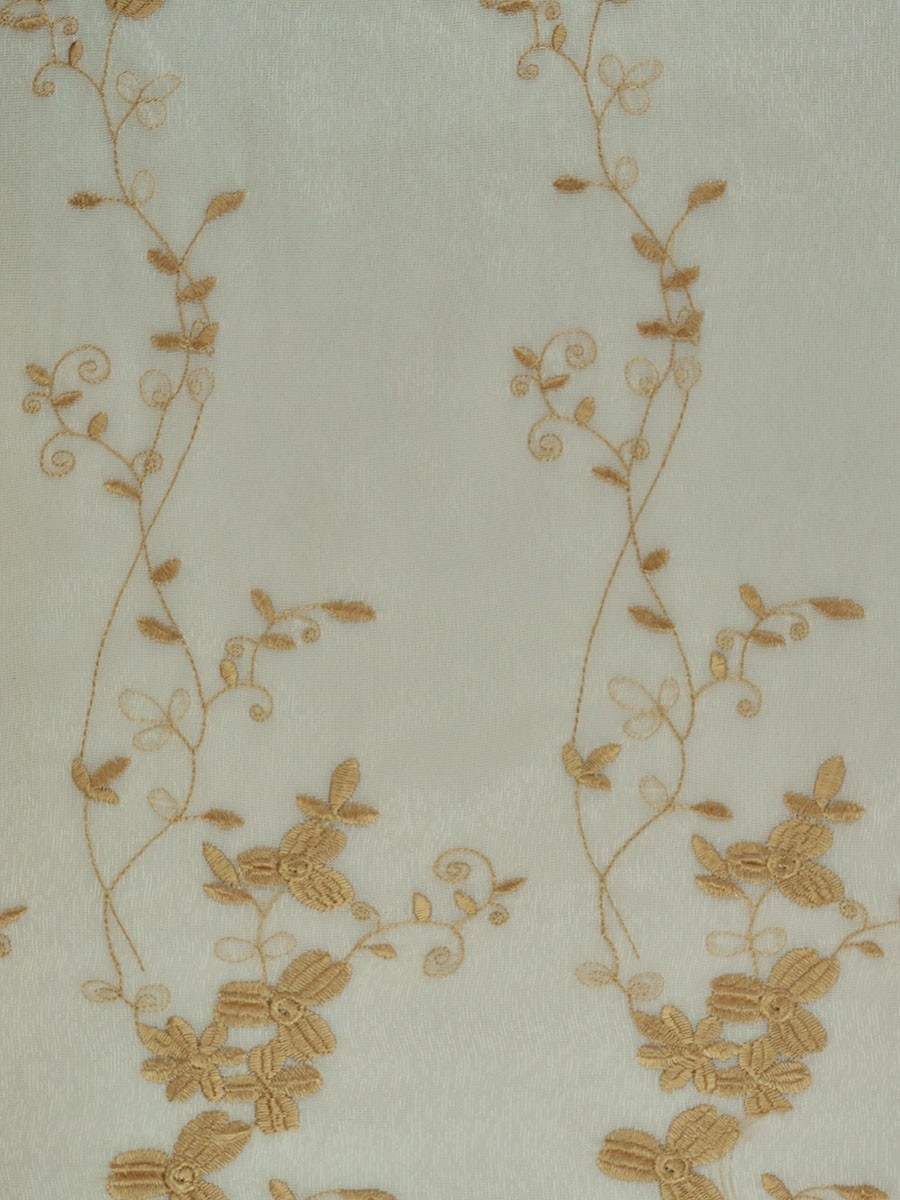 Elbert Vine Leaves Pattern Embroidered Grommet White Sheer