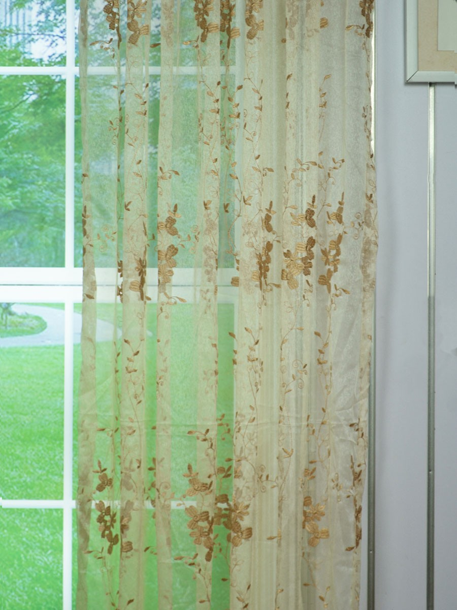 elbert custom curtains sheer embroidered leaves curtain vine made white