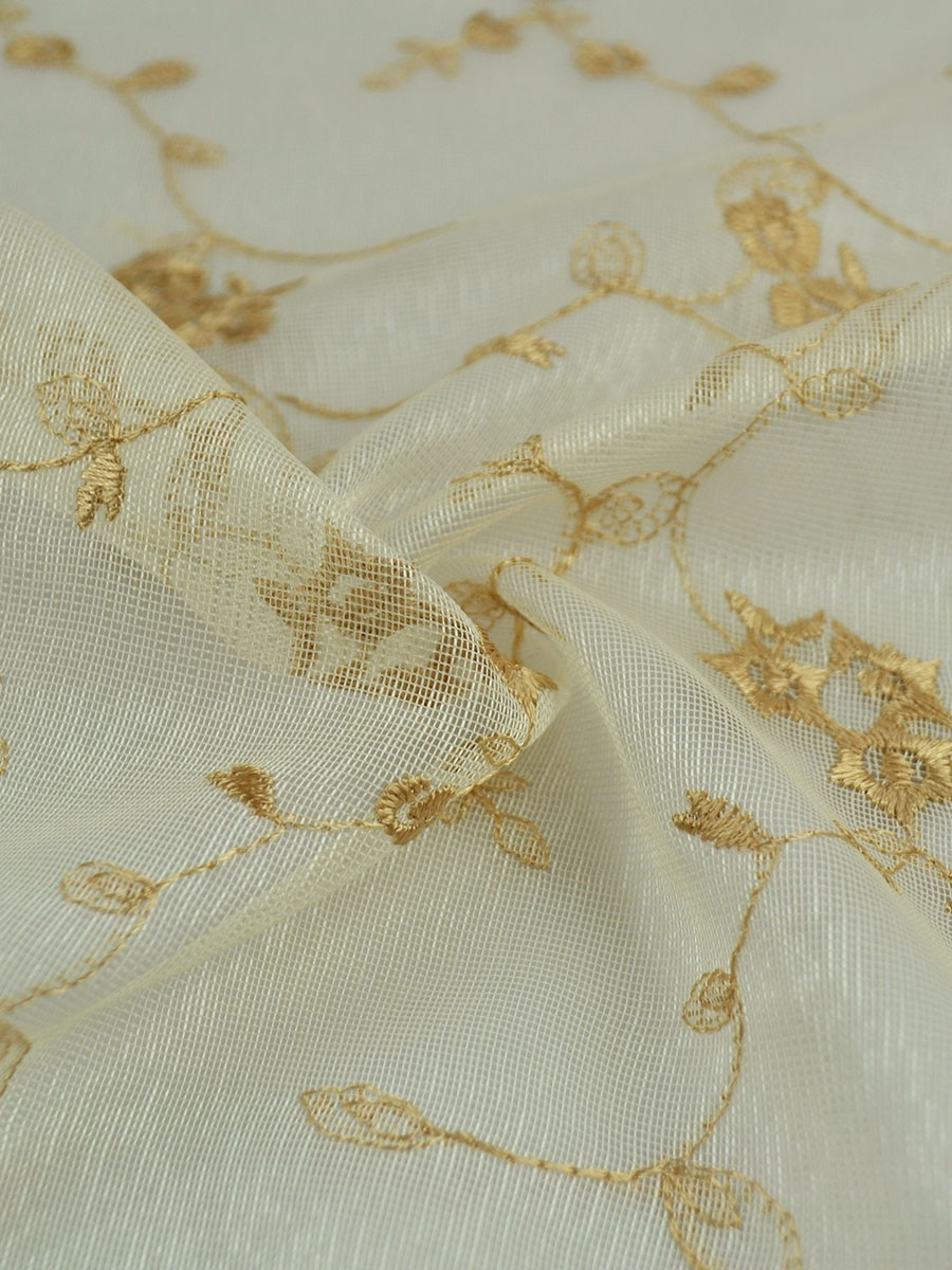 Elbert Damask Pattern Embroidered Back Tab White Sheer