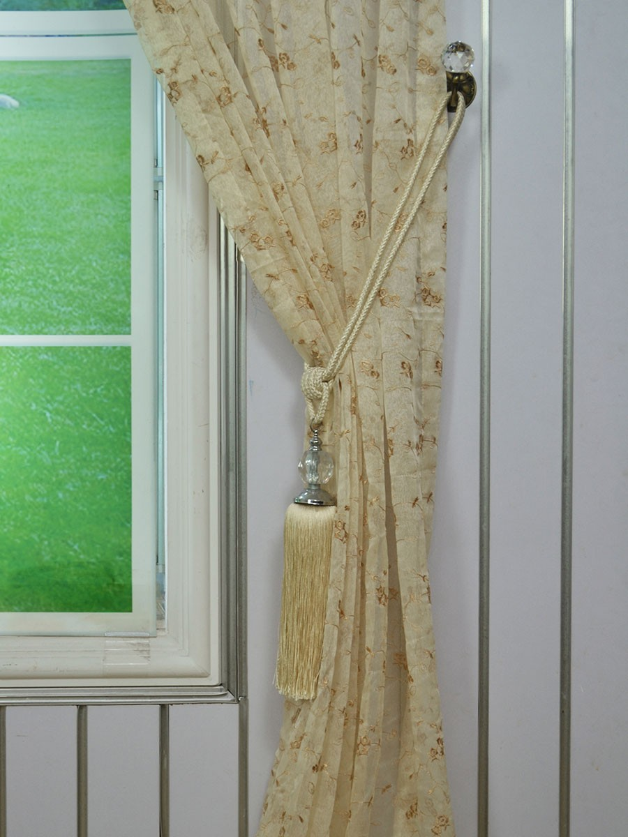Elbert Damask Embroidered Custom Made Sheer Curtains White