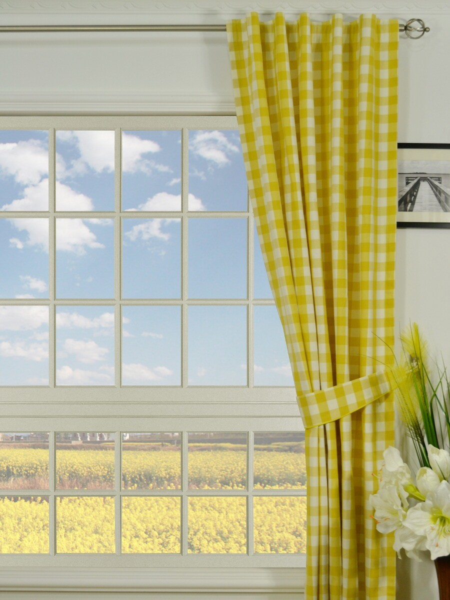 Moonbay Small Plaids Concealed Tab Top Curtains
