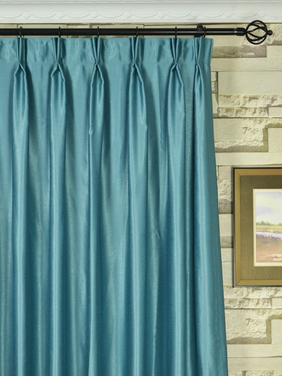 Extra Wide Swan Gray And Blue Solid Double Pinch Pleat Curtains 100