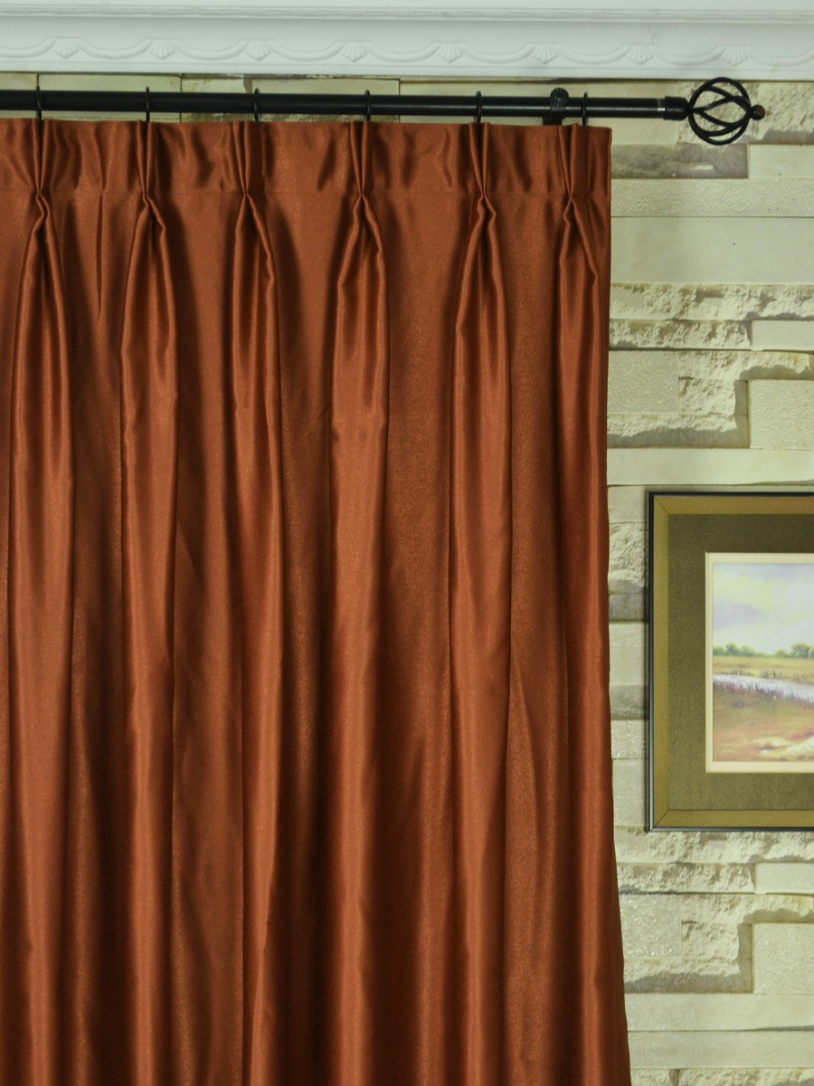 Extra Wide Swan Brown Solid Double Pinch Pleat Curtains