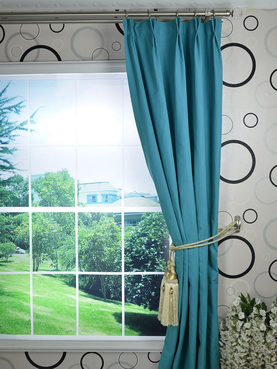 Hudson Cotton Blend Solid Double Pinch Pleat Curtain
