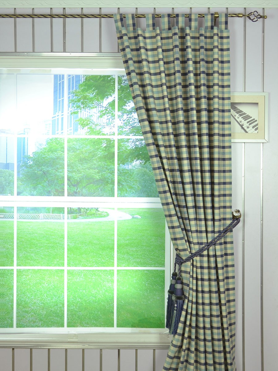 Hudson cotton blend small check tab top curtain extra for B q living room curtains