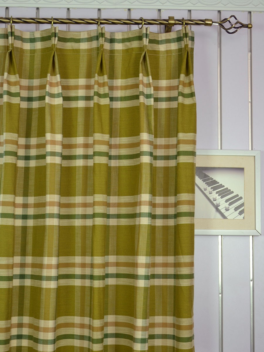 Extra Wide Hudson Large Plaid Double Pinch Pleat Curtains 100 120 Inch Curtain Heading Style