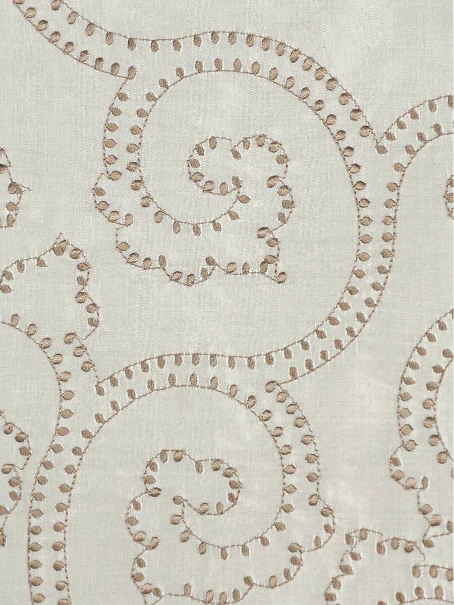 Halo embroidered scroll damask dupioni silk fabric sample