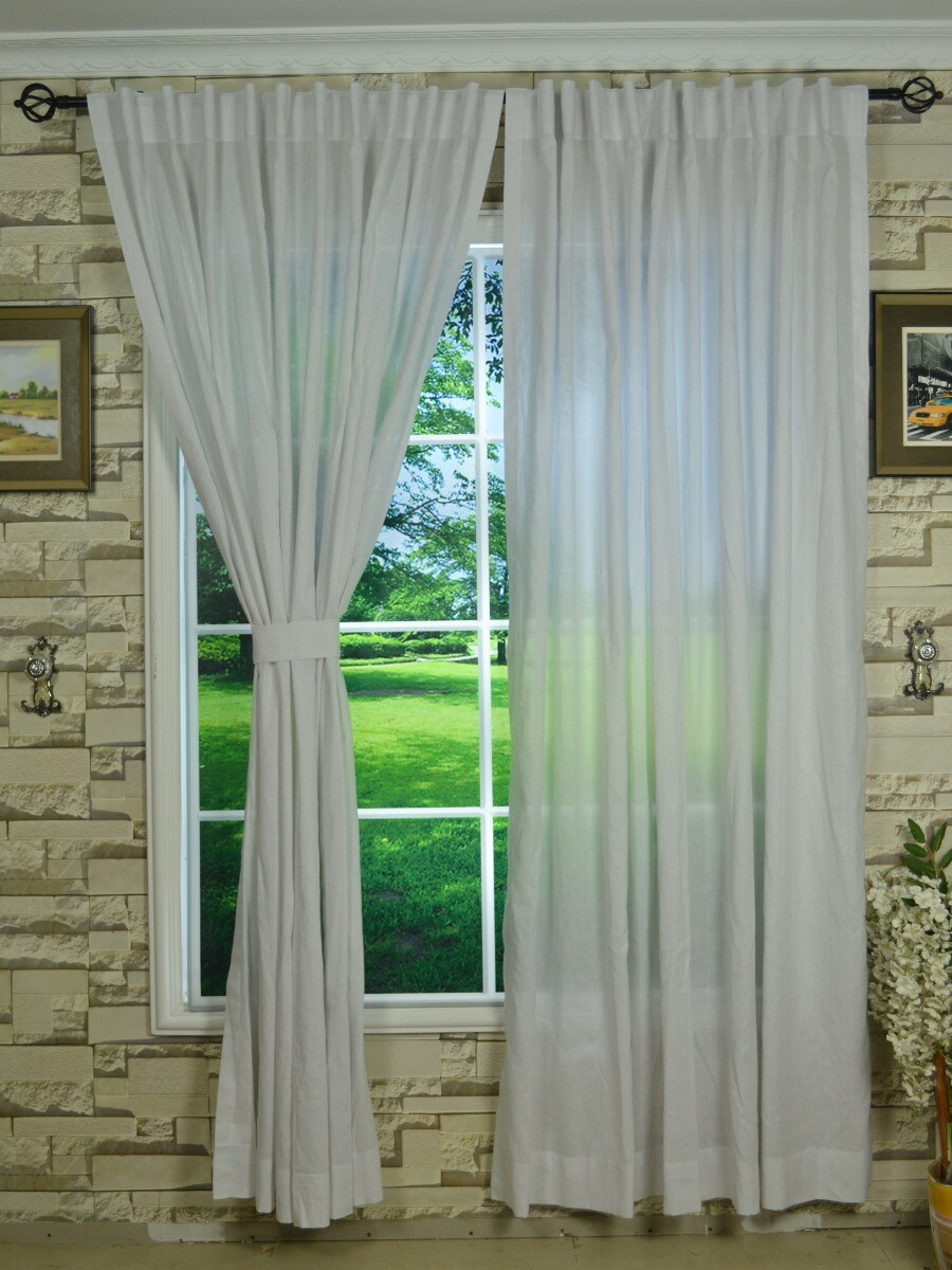 QYK246SAG Eos Linen Natural Solid Back Tab Sheer Curtains