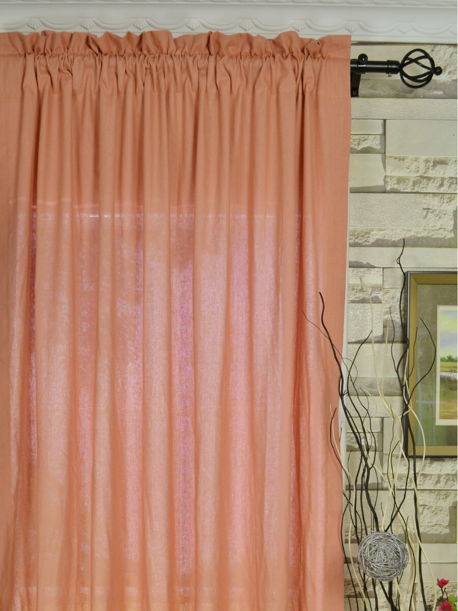 QYKSEE Eos Linen Red Pink Solid Rod Pocket Sheer Curtains - Coral colored curtain panels