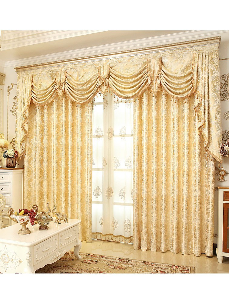 Jacquard Yellow Blue Coffee Color Fl Waterfall And Swag Luxury Valance Sheers Living Room Curtains