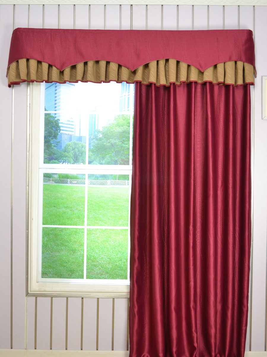 Swan Geometric Two Layered Wave And Box Pleat Valance Curtains