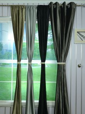 Whitney Gray and Black Custom Made Velvet Curtains For Living Room and Theater
