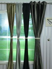 Whitney Gray and Black Plain Custom Made Velvet Curtains