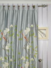 120 Inch Extra Wide Morgan Gray Embroidered Bird Branch Faux Silk Curtains