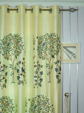 120 Inch Extra Wide Morgan Beige & Blue Embroidered Bird Tree Faux Silk Curtains