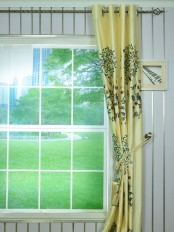 4 Headings Morgan Beige & Blue Embroidered Bird Tree Faux Silk Curtains