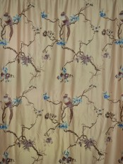 Morgan Light Apricot Embroidered Branch Faux Silk Custom Made Curtains