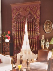 Angel Jacquard European Style Floral Custom Made Curtains (Color: Deep Maroon)