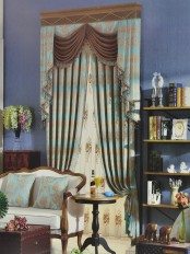 Angel Jacquard Floral Damask Custom Made Curtains (Color: Medium Sky Blue)