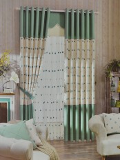 Eclipse Embroidered Polka Dot Stitching Style Custom Made Curtains (Color: Celadon Green)