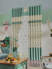 Eclipse Embroidered Floral Stitching Style and Ruffle Custom Made Curtains (Color: Celadon Green)