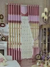 Eclipse Embroidered Flowers Stitching Style and Ruffle Custom Made Curtains (Color: Amaranth Pink)