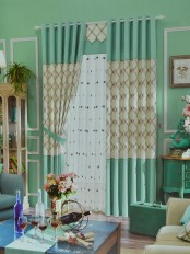 Eclipse Embroidered Plaid Stitching Style Custom Made Curtains (Color: Celadon Green)