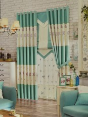Eclipse Embroidered Four Leaves Stitching Style Custom Made Curtains (Color: Celadon Green)