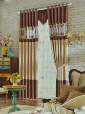 Eclipse Custom Made Curtains Stitching Style Leaf Sheer (Color: Camel)