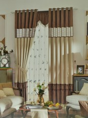 Eclipse Custom Made Curtains Stitching Style Plaid Sheer (Color: Camel)