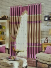 Eclipse Solid Stitching Style Custom Made Curtains with Trims (Color: Camel)
