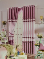 Eclipse Solid Stitching Style and Ruffle Custom Made Curtains (Color: Amaranth Pink)