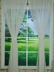 QY7151SJ Laura Solid Plain Polyester Custom Made Sheer Curtains (Color: Cloud Dancer)