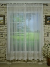 QY7151SJE Laura Solid Plain Dyed Rod Pocket Sheer Curtain