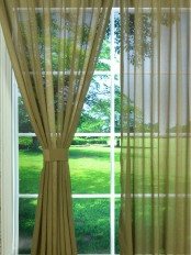 QY7151SK Laura Striped Custom Made Sheer Curtains (Color: Kangaroo)
