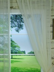QY7151SO Laura Small Plaid Polyester Custom Made Sheer Curtains (Color: Cloud Dancer)