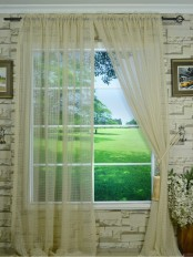 QY7151SOE Laura Small Plaid Polyester Rod Pocket Sheer Curtain