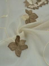Elbert Flowers Pattern Embroidered Grommet Sheer Curtains