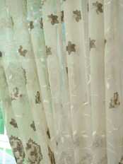 Elbert Flowers Embroidered Custom Made Sheer Curtains White Sheer Curtain Panel Fabric Details