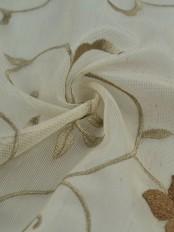 Elbert Flowers Pattern Embroidered Rod Pocket Sheer Curtains