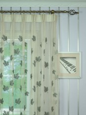 Elbert Maple Leaves Pattern Embroidered Versatile Pleat Sheer Curtains