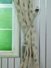 Elbert Maple Leaves Pattern Embroidered Grommet Sheer Curtains