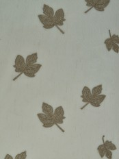 Elbert Maple Leaves Pattern Embroidered Rod Pocket Sheer Curtains