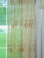 Elbert Vine Leaves Embroidered Custom Made Sheer Curtains White Sheer Curtains
